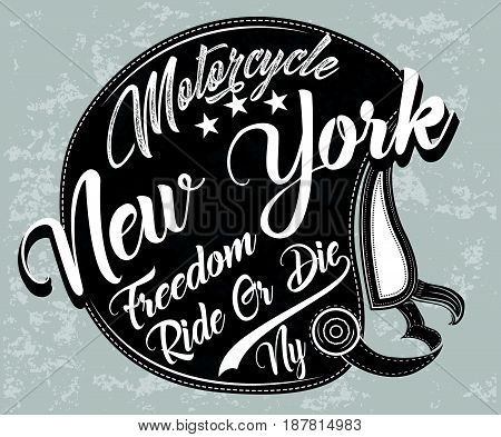 Motorcycle Helmet Typography New York Sports Club