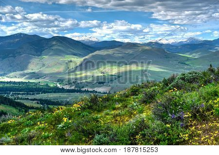 Rolling hills from Patterson Mountain. North Cascades National Park. Bellingham. Winthrop. Washington. The United States.
