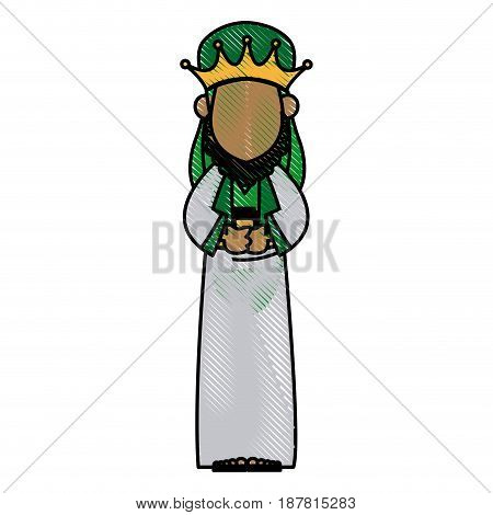 cartoon wise king manger christianity image vector illustration