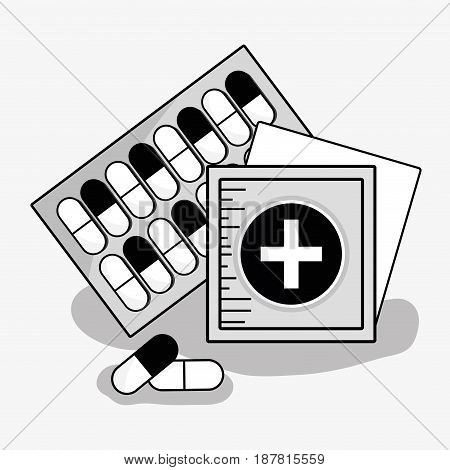 first aid treatment pills with aid band, vector illustration