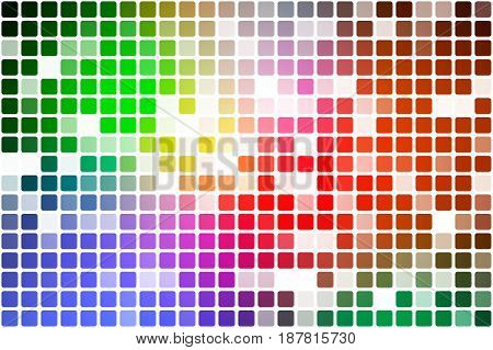 Green blue orange red occasional opacity vector square tiles mosaic over white background