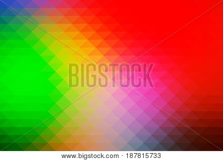 Green blue red abstract geometric background with rows of triangles
