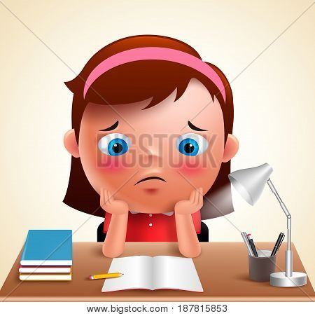 Preschool girl kid vector character bored studying school homework in desk with adorable sad face and unhappy look. Vector illustration.