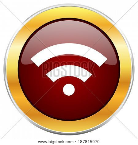 Wireless red web icon with golden border isolated on white background. Round glossy button.