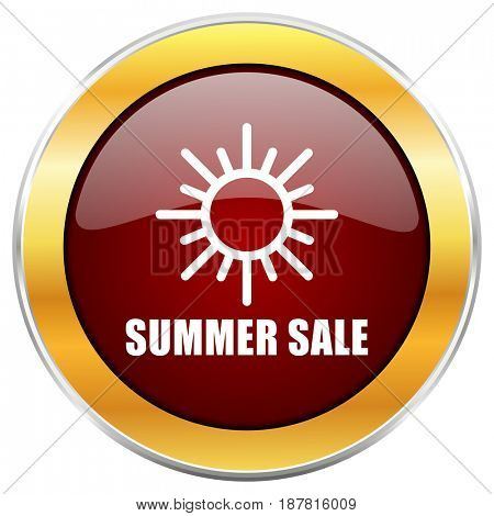 Summer sale red web icon with golden border isolated on white background. Round glossy button.