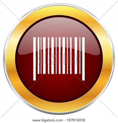 Barcode red web icon with golden border isolated on white background. Round glossy button.