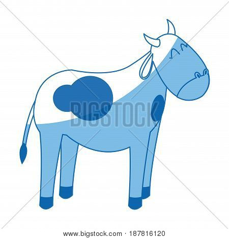 cow manger animal character christmas vector illustration