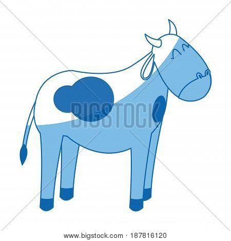 cow manger animal character christmas vector illustration
