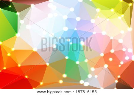 Rainbow colors abstract low poly geometric background with defocused lights