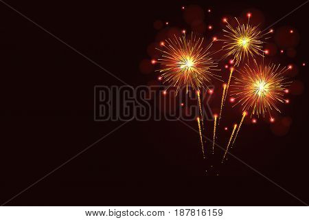 Golden sparkling vector fireworks over night sky greeting card copy space. Independence Day 4th of July New Year holidays background.