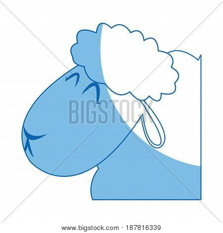 head sheep manger animal character christmas vector illustration