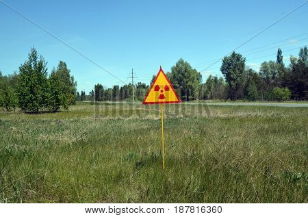 Radioactivity sign.Chernobyl area.Kiev region.Ukraine