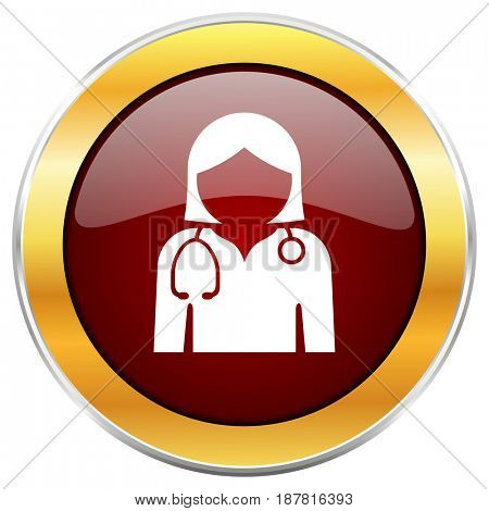 Doctor red web icon with golden border isolated on white background. Round glossy button.