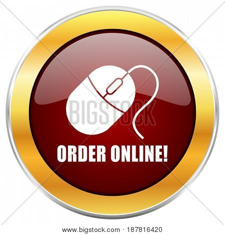 Order online red web icon with golden border isolated on white background. Round glossy button.