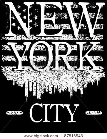 Vector illustration on the theme of fashion in New York City Brooklyn. Stylized American flag. Typography t-shirt graphics print poster; banner flyer postcard