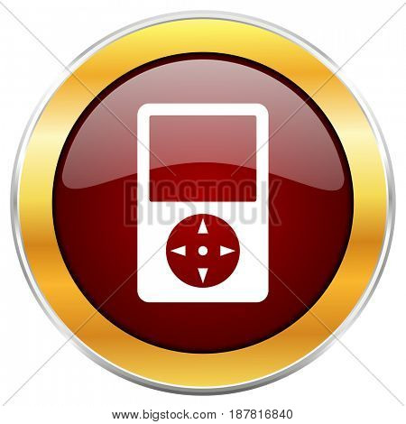 Multimedia player red web icon with golden border isolated on white background. Round glossy button.