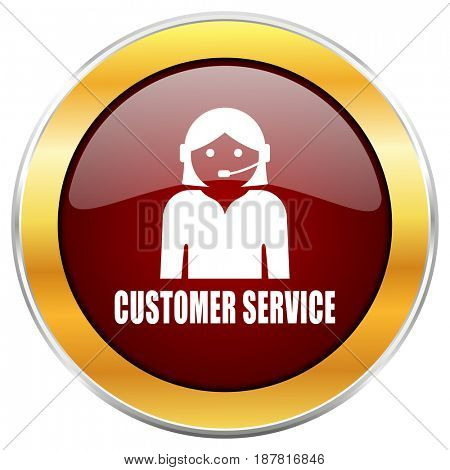 Customer service red web icon with golden border isolated on white background. Round glossy button.