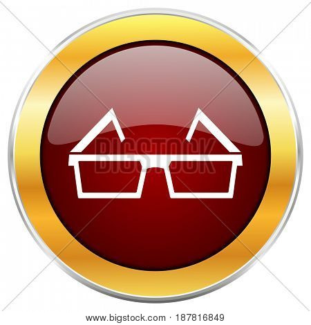 3d glasses red web icon with golden border isolated on white background. Round glossy button.