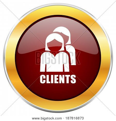 Clients red web icon with golden border isolated on white background. Round glossy button.