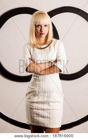 Beautiful blond in white dress