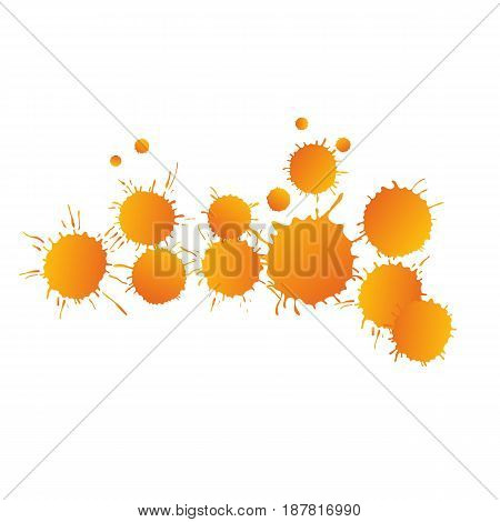 Orange vivid vector watercolor paint drops on white