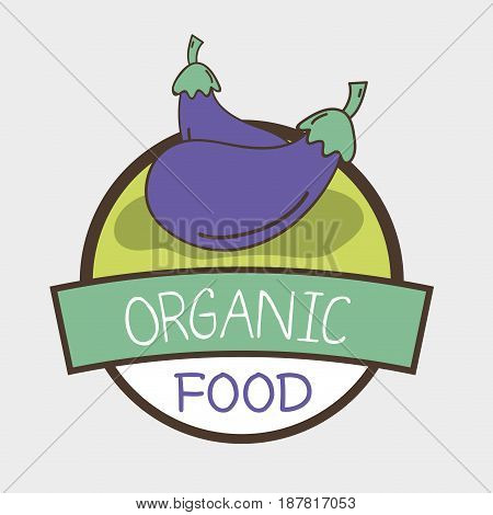 fresh eggplants organ vegetables symbol, vector illustration