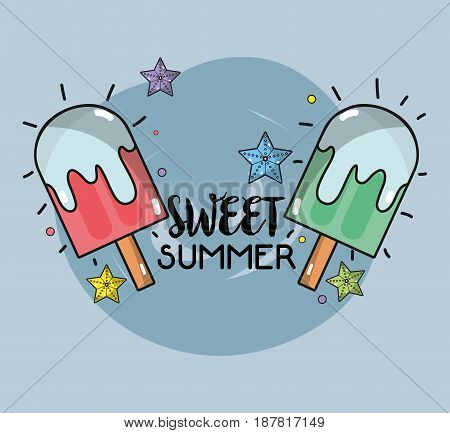 delicious ice pop to summer day, vector illustration
