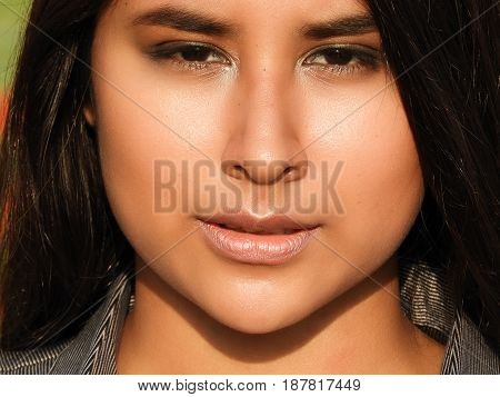 A Hispanic Beautiful Girl Face Close Up