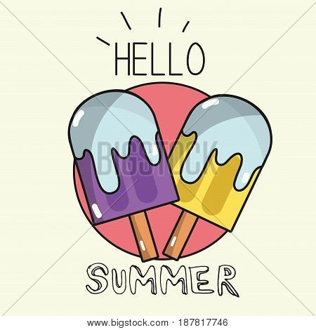 emblem delicious and fresh ice pop, vector illustration