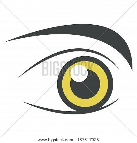 yellow bright eye perfect brows isolated on white, stylized decorative vector illustration