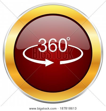 Panorama 360 red web icon with golden border isolated on white background. Round glossy button.