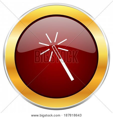 Magic wand red web icon with golden border isolated on white background. Round glossy button.