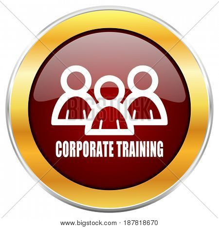 Corporate training red web icon with golden border isolated on white background. Round glossy button.