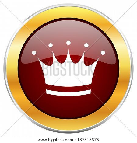 Crown red web icon with golden border isolated on white background. Round glossy button.