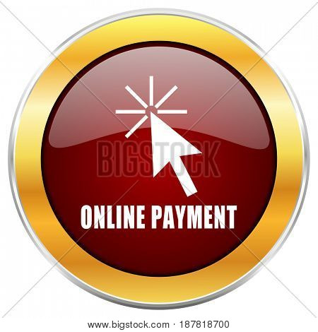 Online payment red web icon with golden border isolated on white background. Round glossy button.