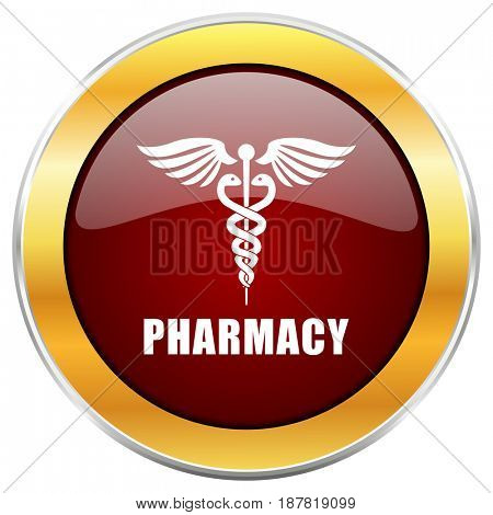Pharmacy red web icon with golden border isolated on white background. Round glossy button.