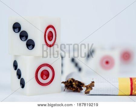 Dice 3 And 1, And Broken Cigarette. World No Tobacco Day Concept.