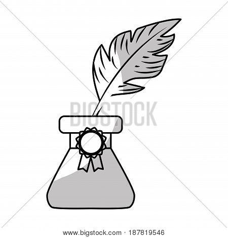 line cute inkpot with feather to writing manuscript, vector illustration