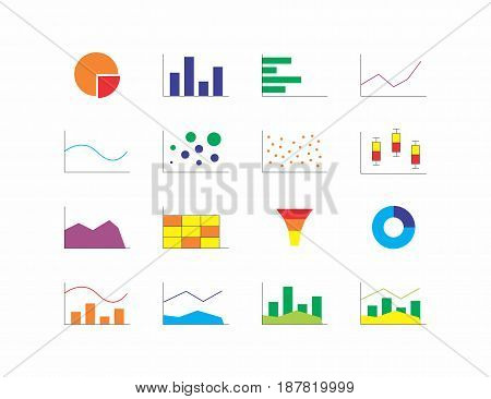 Vector illustration of different chart types. Colorful icons on white background.