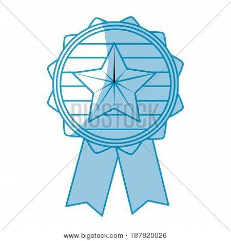 silhouette emblem with star inside and ribbon design, vector illustration