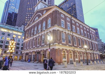 Faneuil Hall in Boston Downtown - historic district - BOSTON - MASSACHUSETTS -  2017