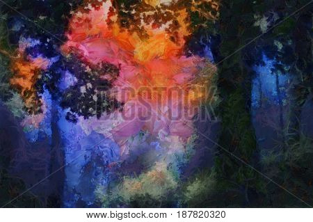 Forest dawn in vivid colors.  3D rendering