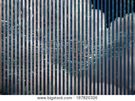 Abstract painting with stripes and fish school.  3D rendering