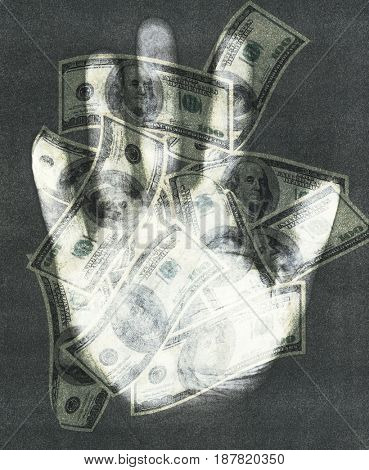 100 dollar banknotes, hand.  3D rendering