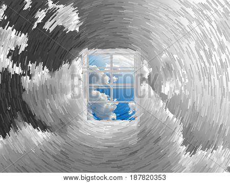 Window in sky.  3D rendering