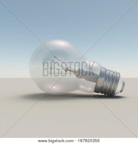 Light bulb.  3D rendering