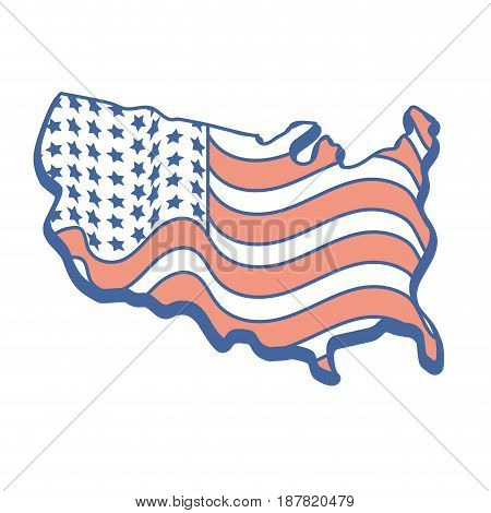 map with flag inside to celebrate patrotism, vector illustration