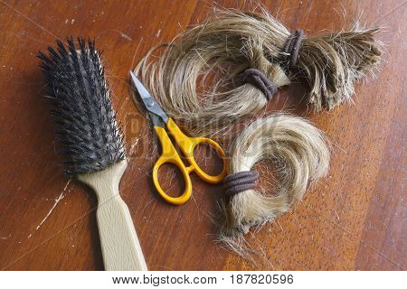 Close up of a thick cut-off ponytail of long blond hair held together with brown hair ties along with a brush and scissors indicative of a life change