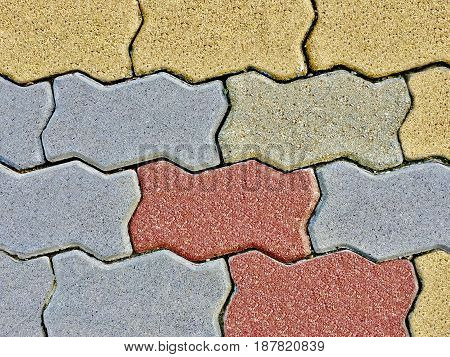 Background Pattern Close Up of Horizontal Paver Bricks Pavement Seamless Texture.