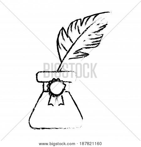 figure cute inkpot with feather to writing manuscript, vector illustration